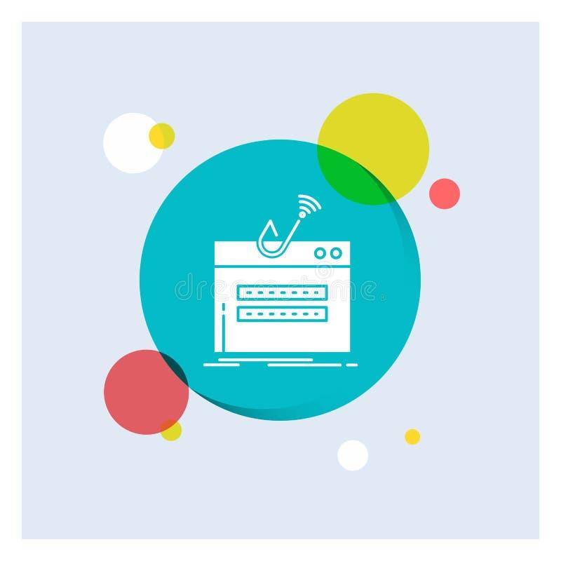 bedrägeri internet, inloggning, lösenord, för vit bakgrund för cirkel skårasymbol för stöld färgrik stock illustrationer