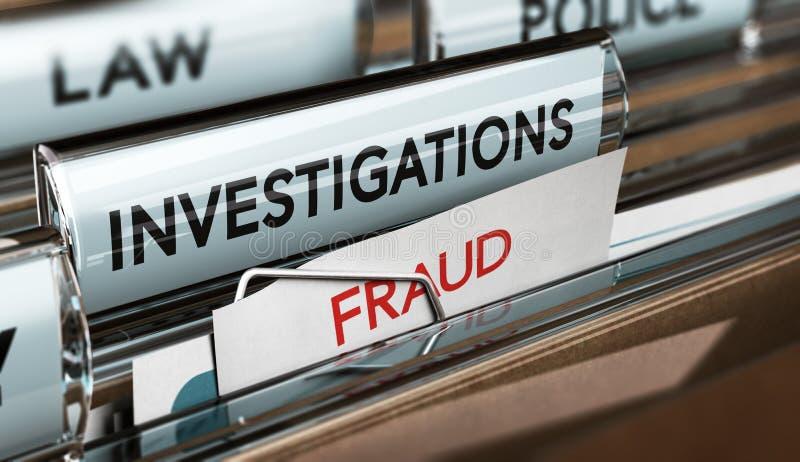 Bedrägeriutredning, kriminalare Files stock illustrationer