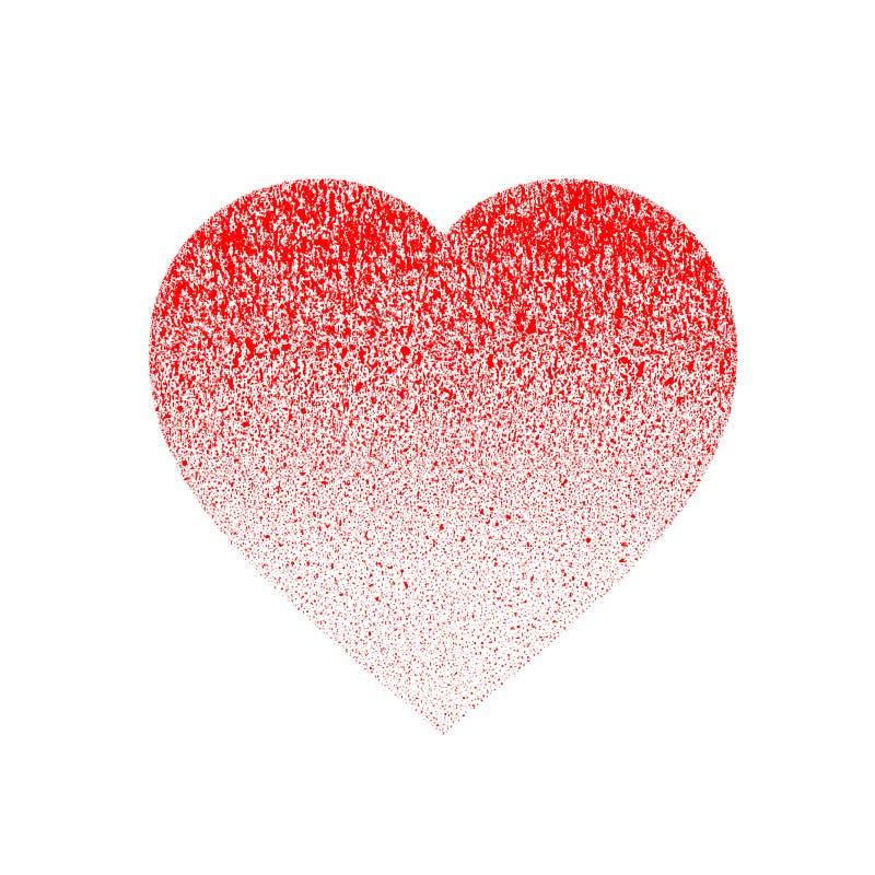 Bedrövad röd grunge texturerade handen - gjord hjärta som gjordes av målarfärgsprej med droppar, dribbling, stänk Halvton från sc royaltyfri illustrationer