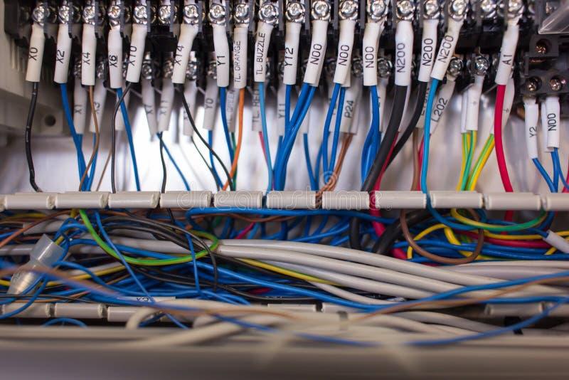 Bedradingsbeheer in controlebord stock afbeelding