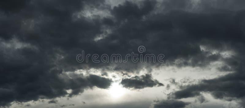 Bedreigend donkere wolken die bijna de volledige hemel behandelen royalty-vrije stock afbeelding