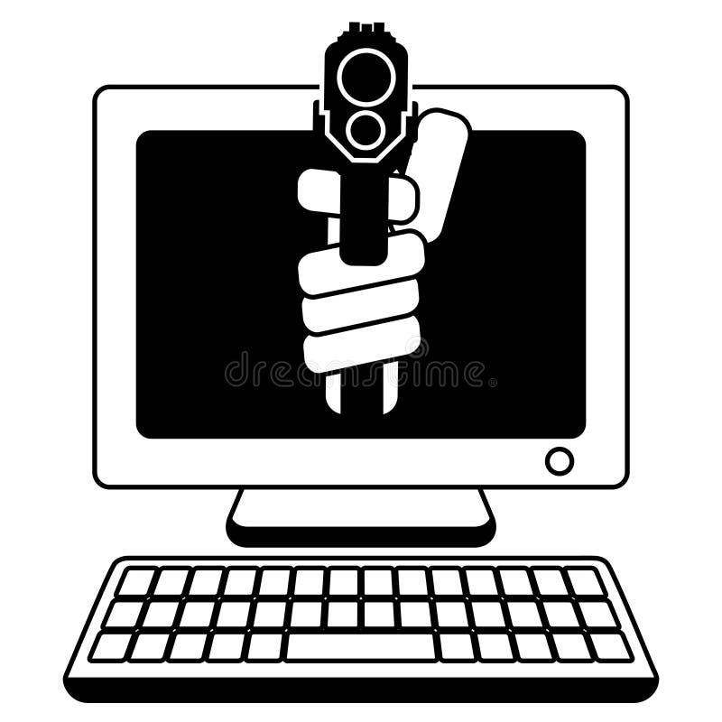 Bedreiging van van het de hakkersweb van computerinternet de diefstala kanon dat op u wordt gericht royalty-vrije illustratie