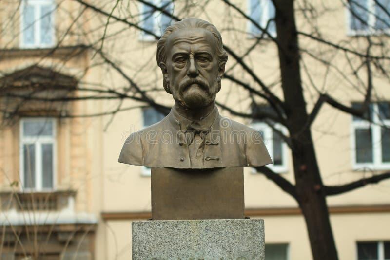 Bedrich Smetana在公园面对雕象 库存图片