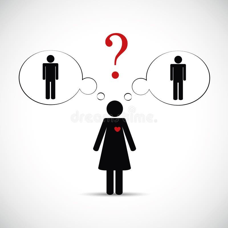 Bedrieg partnervrouw denken over twee mannen pictogram stock illustratie