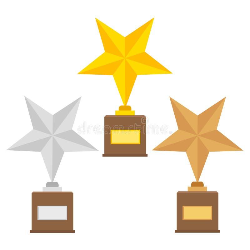 Bedriegen de gouden de koppen vlakke vectorpictogrammen van de winnaartrofee voor sportenoverwinning vector illustratie