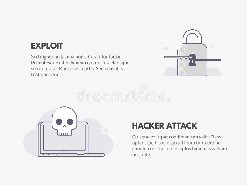 Bedrift- och en hackerattack Uttrycka av rött färgar lokaliserat över text av vit färgar royaltyfri illustrationer