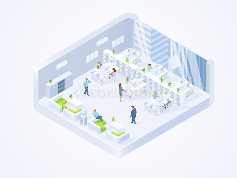 Bedrijf, het coworking binnenland van het centrumbureau vector illustratie