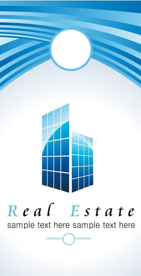 Bedrijfembleem met wolkenkrabber stock illustratie