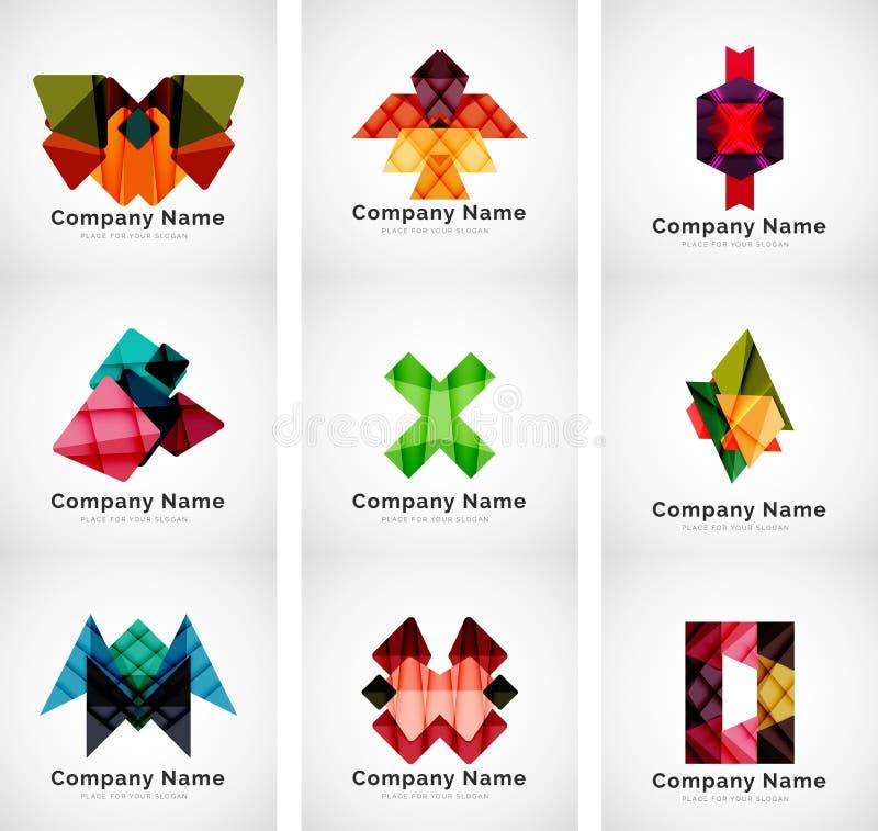 Bedrijfemblemen, document geometrische pictogramreeks stock illustratie
