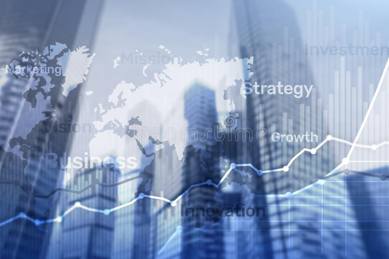 Bedrijfs abstracte achtergrond dubbele blootstellingsgrafiek, grafiek en diagram Kaart wereldwijd en Globale industrie en financi royalty-vrije stock afbeelding