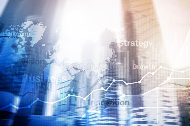 Bedrijfs abstracte achtergrond dubbele blootstellingsgrafiek, grafiek en diagram Kaart wereldwijd en Globale industrie en financi stock illustratie