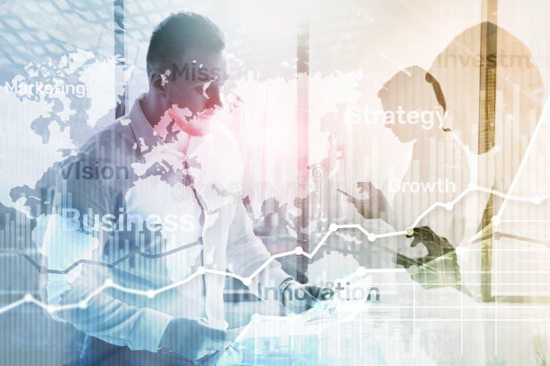 Bedrijfs abstracte achtergrond dubbele blootstellingsgrafiek, grafiek en diagram Kaart wereldwijd en Globale industrie en financi vector illustratie