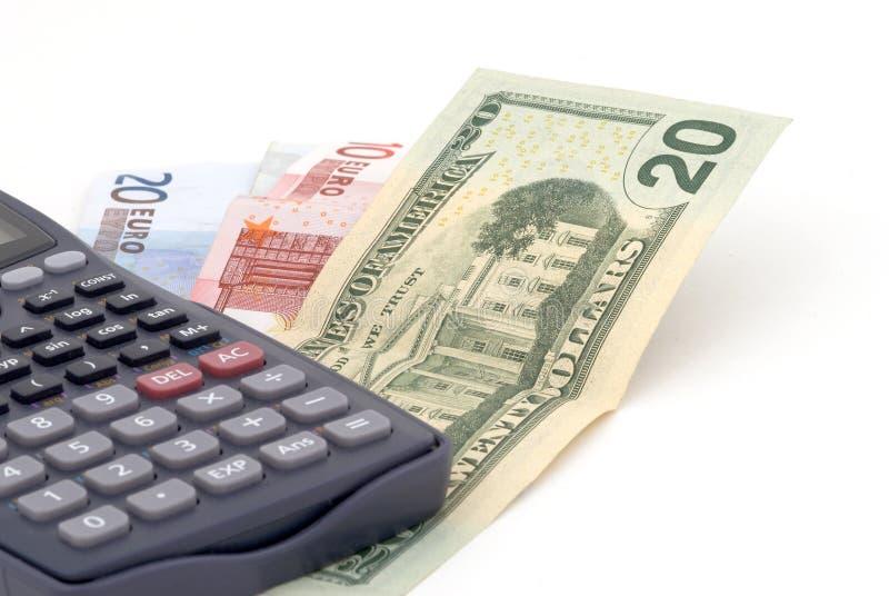 Bedrijfs achtergrond met bankbiljetten en calculator stock afbeeldingen