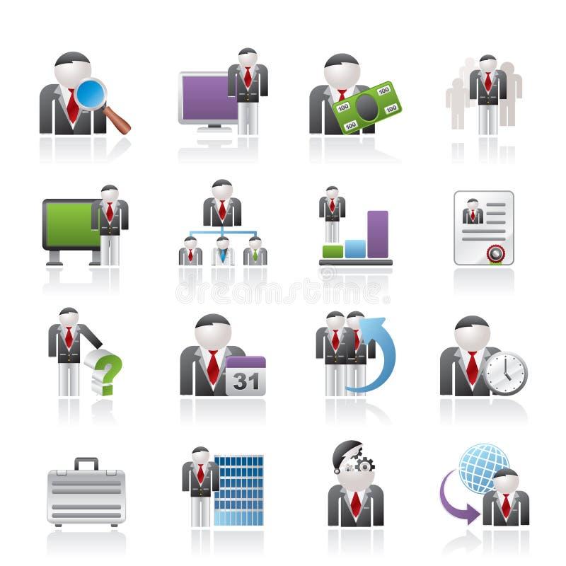 Bedrijfs, beheers en hiërarchiepictogrammen stock illustratie