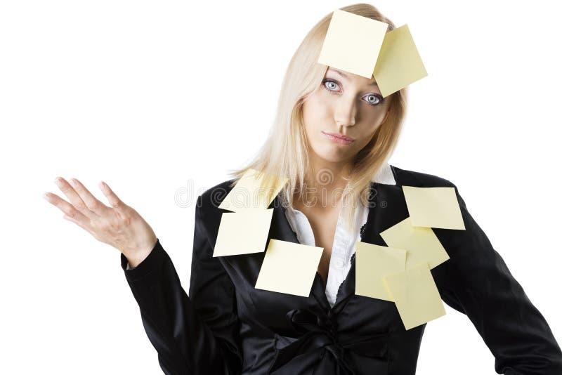 Bedrijfs blonde vrouw met teneergeslagen uitdrukking stock foto's