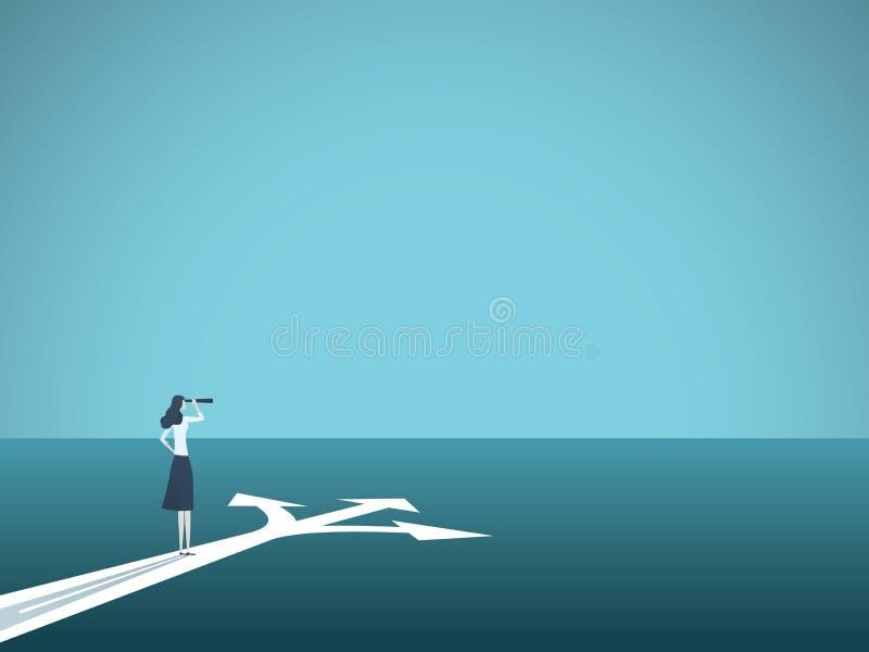 Bedrijfs of carrièrebesluit vectorconcept Onderneemster die zich bij kruispunten bevinden Symbool van uitdaging, keus, veranderin stock illustratie