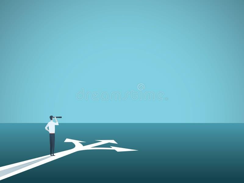 Bedrijfs of carrièrebesluit vectorconcept Onderneemster die zich bij kruispunten bevinden Symbool van uitdaging, keus, veranderin vector illustratie