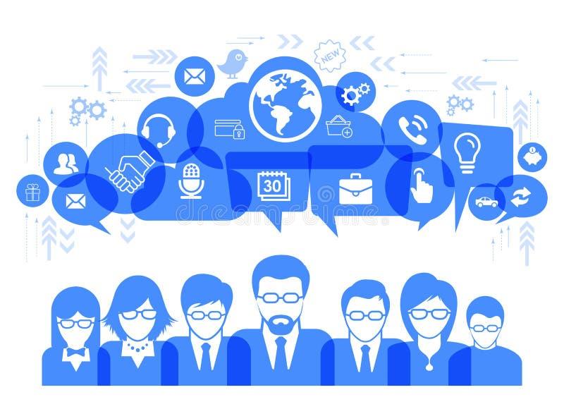 Bedrijfs communicatie concept met media sociale pictogrammen vectorillustratie royalty-vrije illustratie