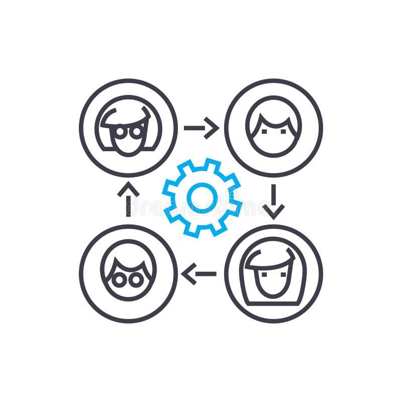 Bedrijfs communicatie lineair pictogramconcept Bedrijfscommunicatielijn vectorteken, symbool, illustratie stock illustratie