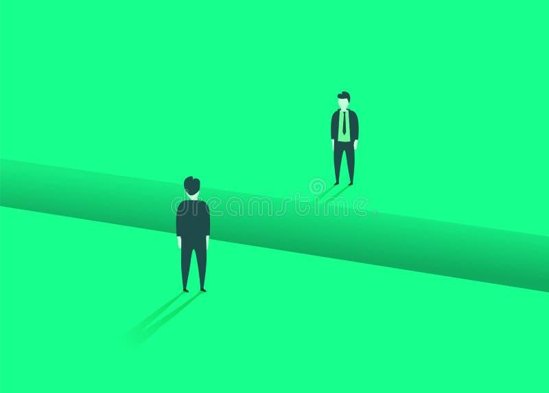 Bedrijfs communicatie of onderhandelingsproblemen, kwesties Twee zakenlieden met hiaat tussen hen royalty-vrije illustratie