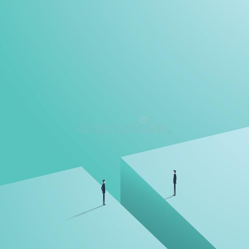 Bedrijfs communicatie of onderhandelingsproblemen, kwesties Twee zakenliedenpictogrammen met hiaat tussen hen royalty-vrije illustratie