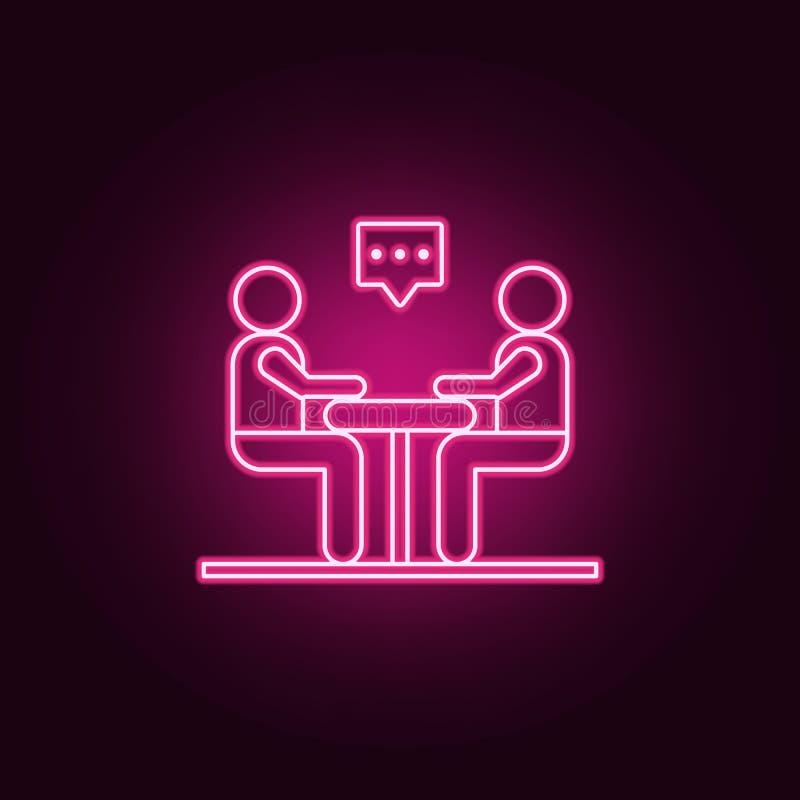 Bedrijfs Communicatie Pictogram Elementen van gesprek in de pictogrammen van de neonstijl Eenvoudig pictogram voor websites, Webo royalty-vrije illustratie