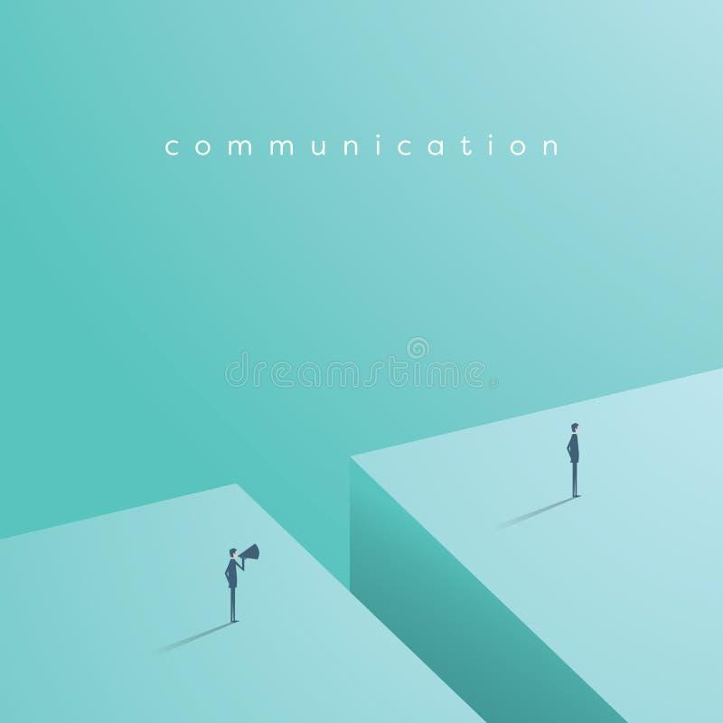 Bedrijfs communicatie vectorconcept met één zakenman die bij een andere over megafoon schreeuwen stock illustratie