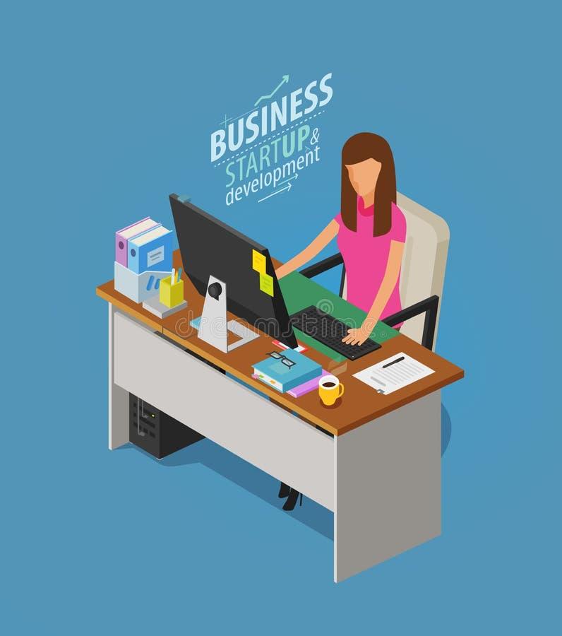 Bedrijfs concept Meisje, vrouwenzitting bij bureau met computer Beambte, het werk, werkplaatspictogram Vlakke vector vector illustratie