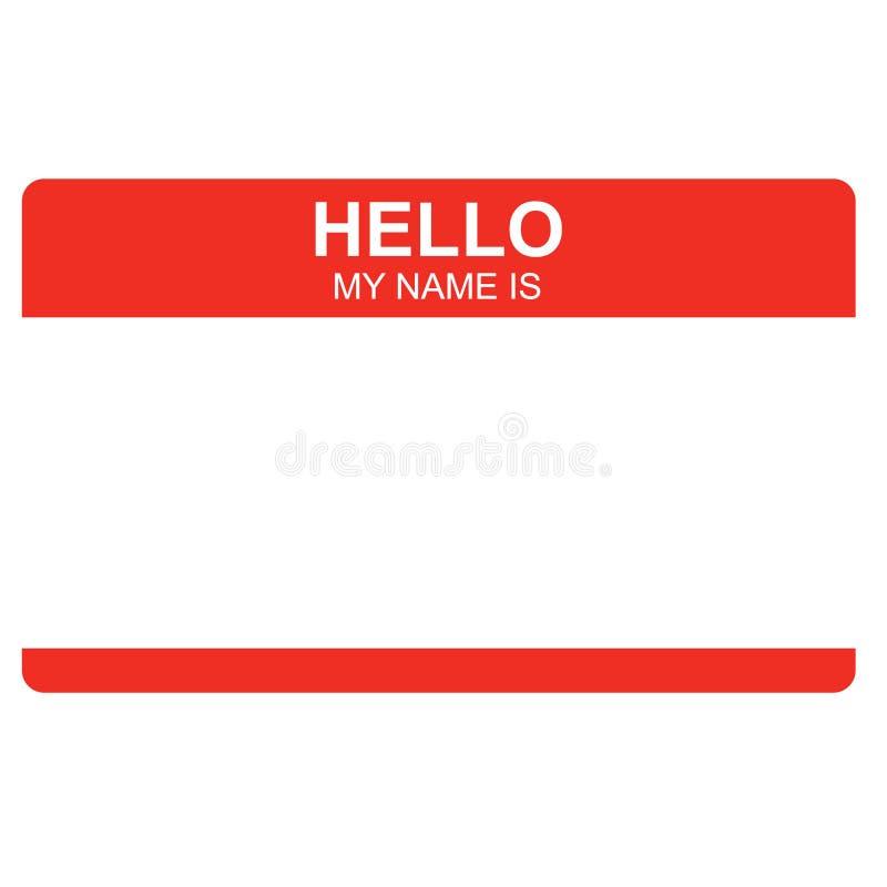 Bedrijfs Concepten: Hello Naamplaatje stock illustratie