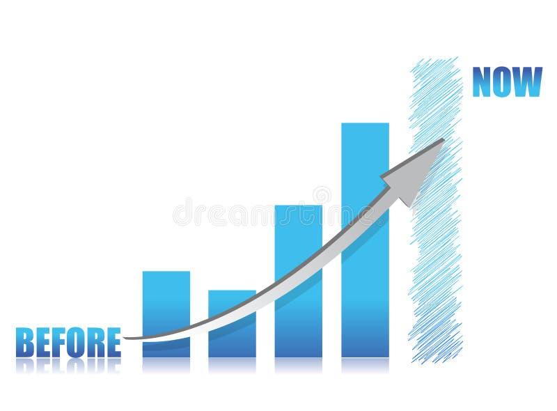 Bedrijfs conceptie - blauwe glasgrafiek stock illustratie