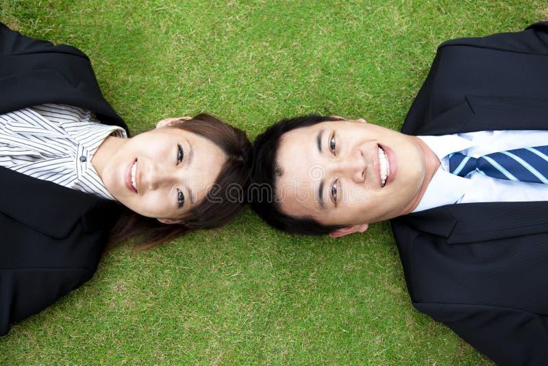 Bedrijfs couple.happy zakenman en vrouw stock afbeelding