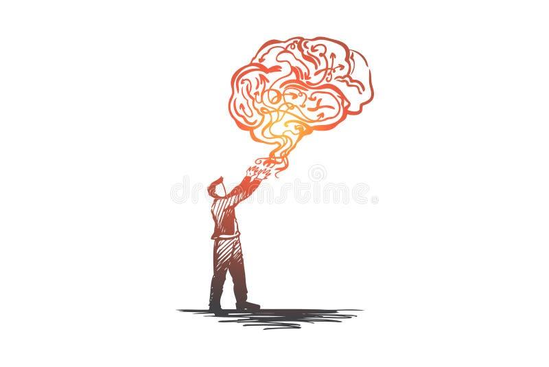 Bedrijfs creatief idee, brainstorming, oplossing, creativiteitconcept Hand getrokken geïsoleerde vector royalty-vrije illustratie