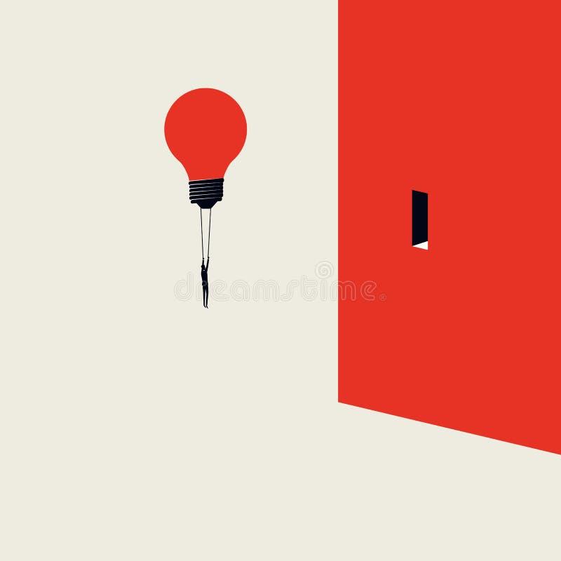 Bedrijfs creatief oplossings vectorconcept met zakenman het vliegen lightbulb aan een deur in muur Symbool van creativiteit stock illustratie