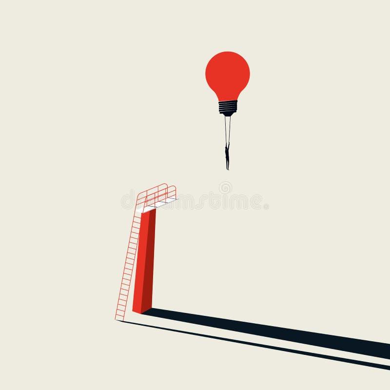 Bedrijfs creatief oplossings vectorconcept met zakenman het vliegen lightbulb van springende raad Minimalistische kunststijl stock illustratie