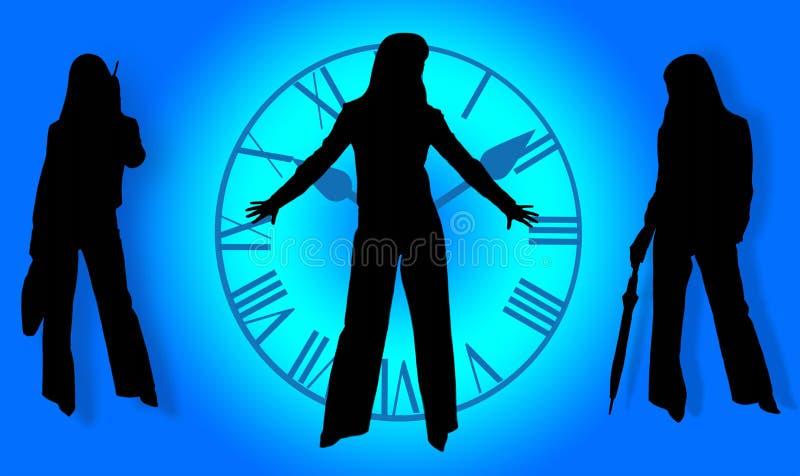 Bedrijfs dames en tijd stock illustratie