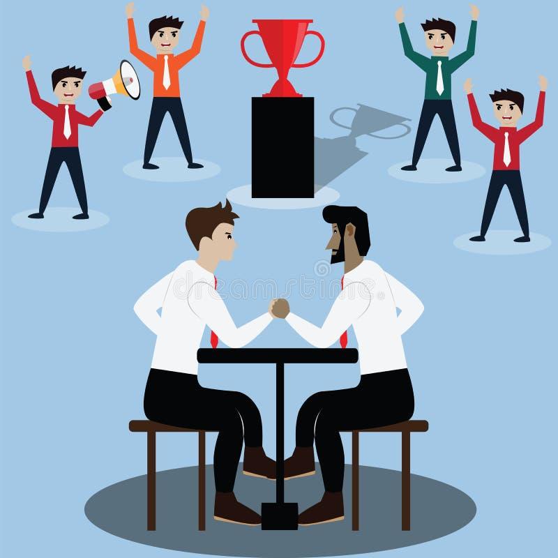 Bedrijfs de concurrentieconcept, wapen die, strijd voor prijs worstelen royalty-vrije illustratie
