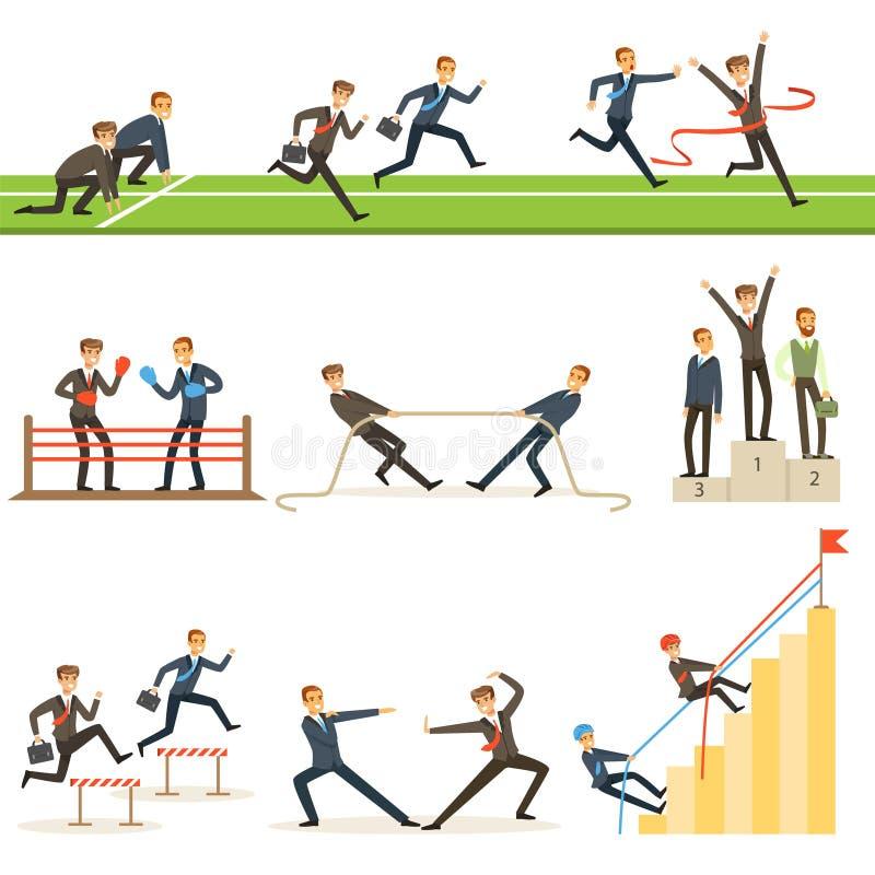 Bedrijfs de Concurrentiereeks Illustraties met Zakenman Running And Competing in Sporten stock illustratie