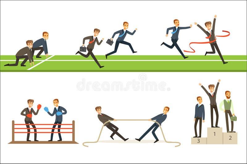 Bedrijfs de Concurrentiereeks Illustraties met Zakenman Running And Competing in Sporten vector illustratie