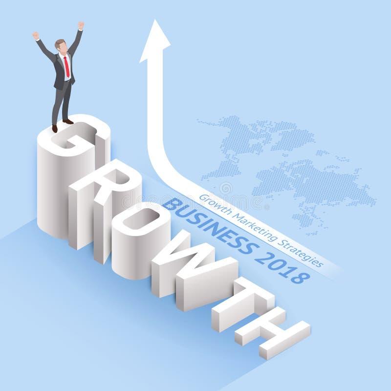 Bedrijfs de groei marketing strategieënconcepten Zakenmantribune stock illustratie