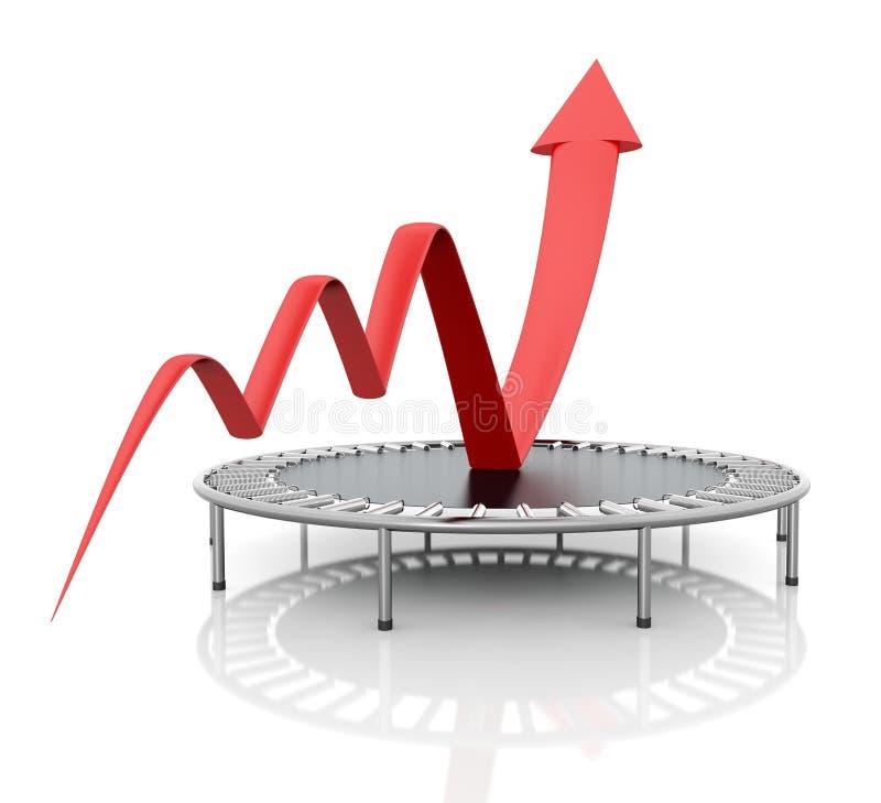 Bedrijfs de groei rode grafisch royalty-vrije illustratie