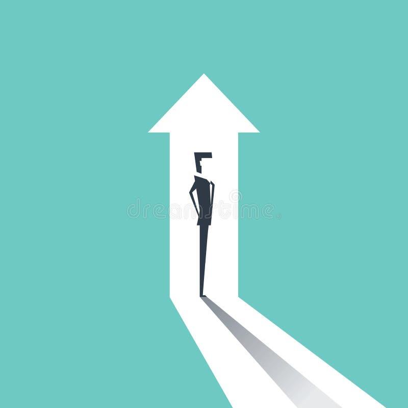 Bedrijfs de groei vectorconcept met zakenman en het verticale pijl uitgaan stock illustratie