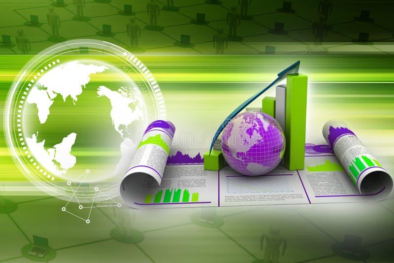 Bedrijfs de groeigrafiek en bol stock illustratie