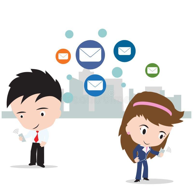 Bedrijfs de man en de vrouw die aan Internet werken voor verzenden e-mail naar sociaal netwerkconcept vector illustratie