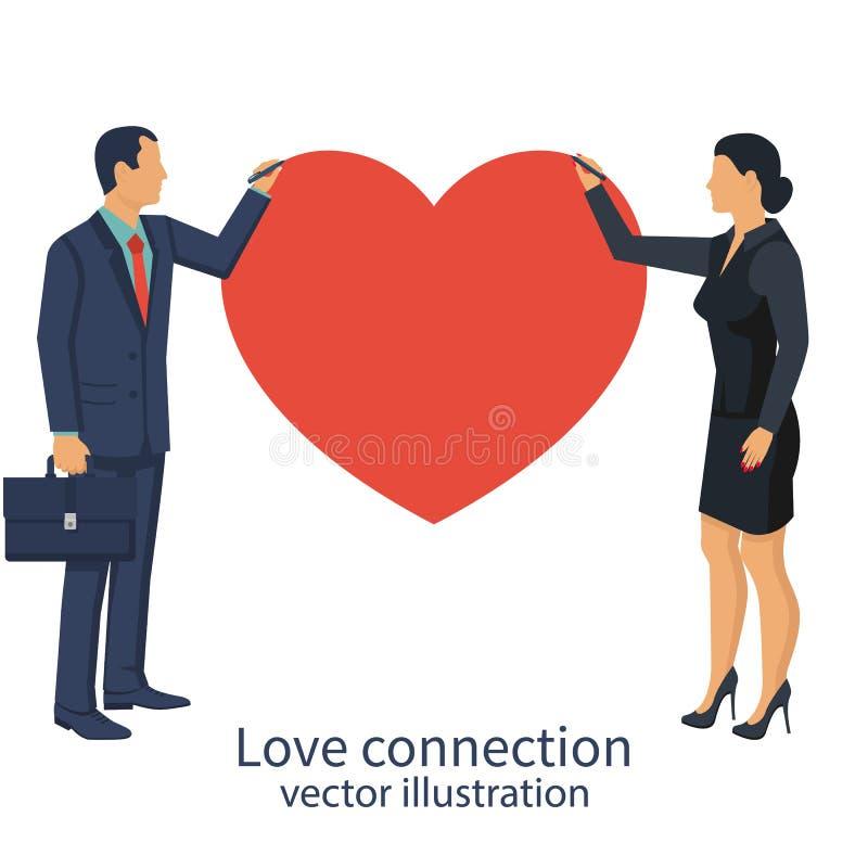 Bedrijfs de mensenman en de vrouw trekken hart als symbool van groepswerk royalty-vrije illustratie