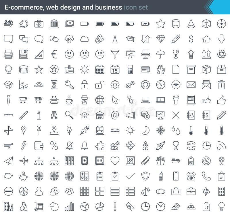 Bedrijfs die, elektronische handel, Web en het winkelen pictogrammen in moderne die stijl worden geplaatst op witte achtergrond w stock illustratie
