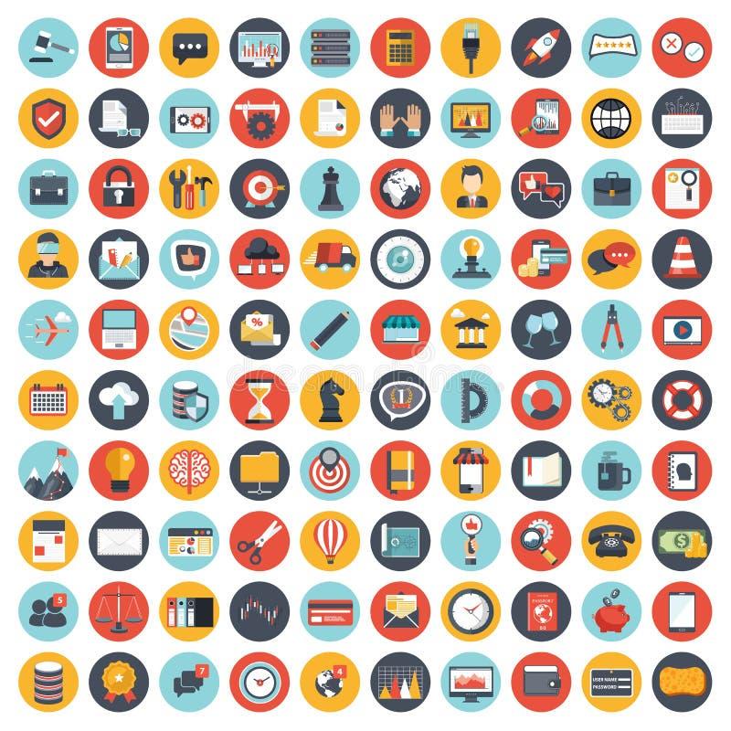 Bedrijfs die en beheerspictogram voor websites en mobiele toepassingen wordt geplaatst Vlakke vector stock illustratie