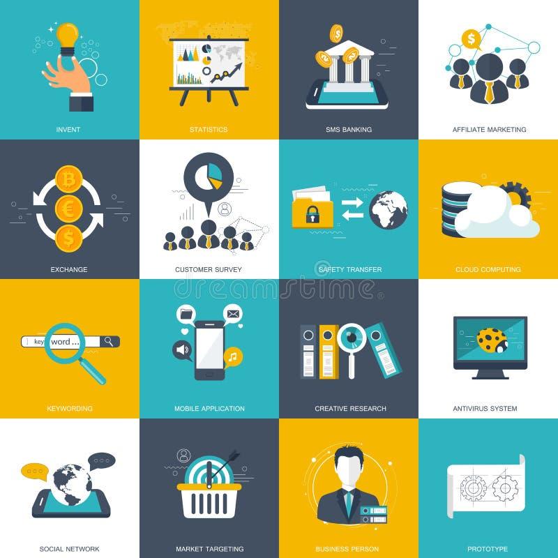 Bedrijfs die en technologiepictogram voor websites en mobiele toepassingen wordt geplaatst Vlakke vector vector illustratie