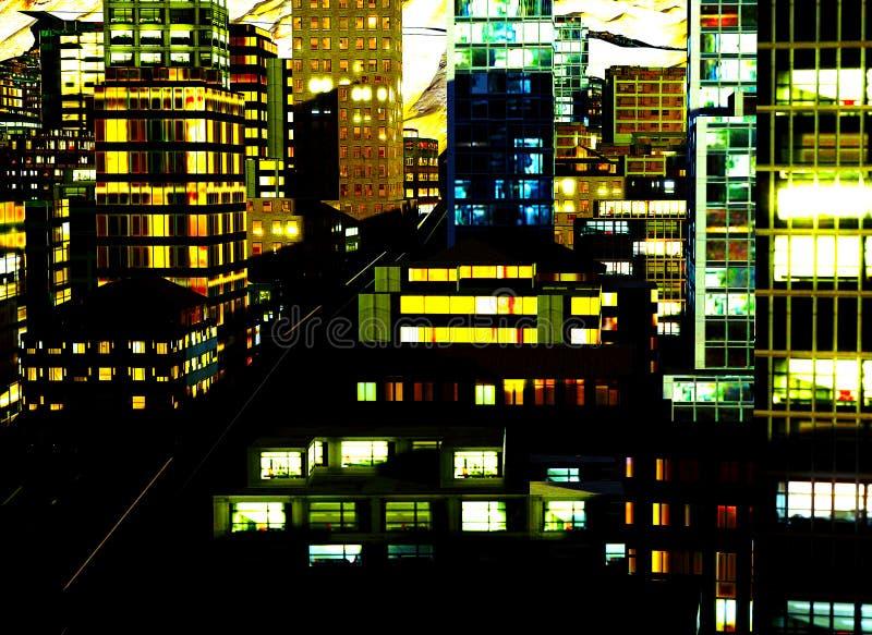 Bedrijfs District bij Nacht royalty-vrije illustratie