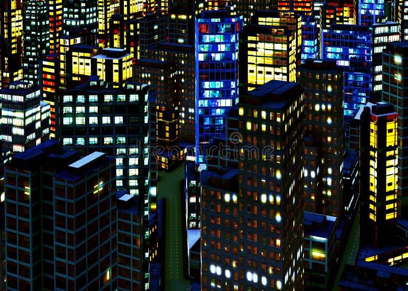 Bedrijfs District bij Nacht royalty-vrije stock afbeelding