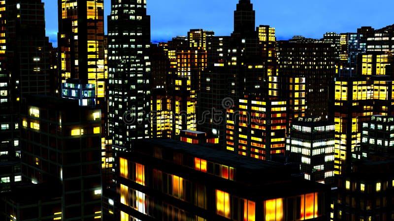 Bedrijfs District bij Nacht royalty-vrije stock foto's